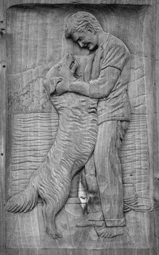 Lindenholz f. Relief Angler mit Hund