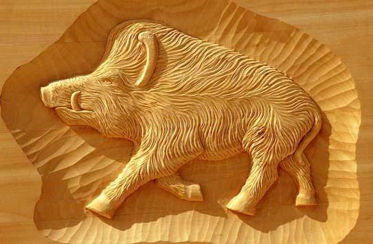 Lindenbrett f. Relief Wildschwein 45x36x3 cm
