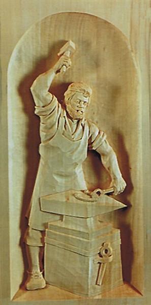 Lindenbrett f. Relief Schmied 56x26x3,5 cm