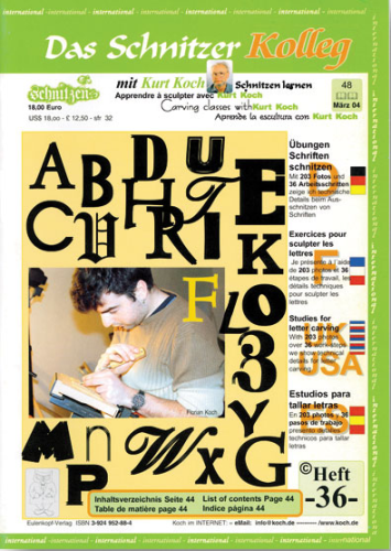 Kolleg Nr. 36 Ausschnitzen von Buchstaben und Schriften