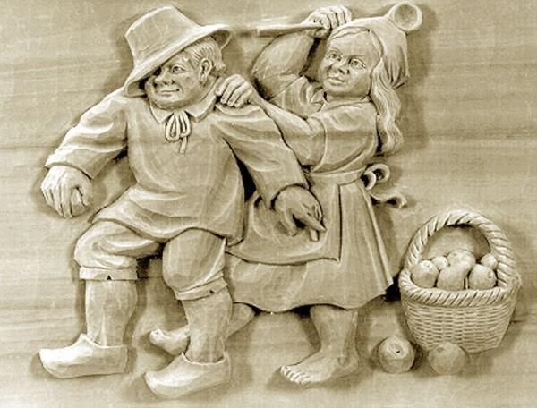 Lindenbrett f. Relief Strafaktion mit Kochlöffel 38x26x3cm