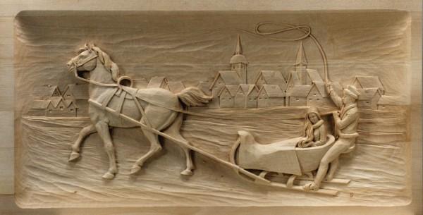Relief Schlittenfahrt