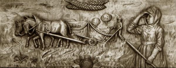 Pflügender Bauer mit Bäuerin