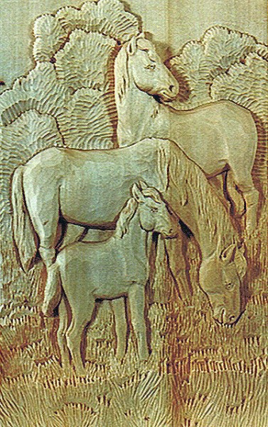 Lindenbrett f. Relief Pferde Familie 41x26x3 cm