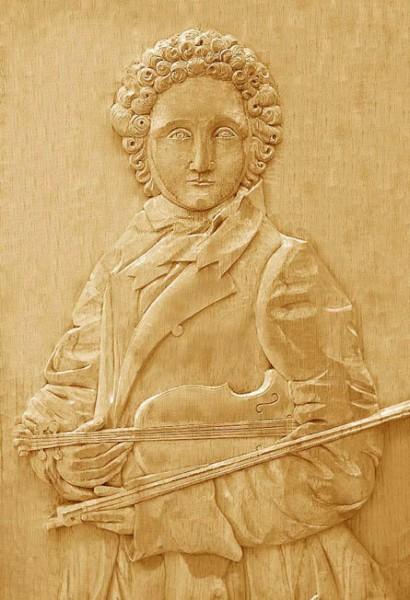 Flachrelief Geigenspieler