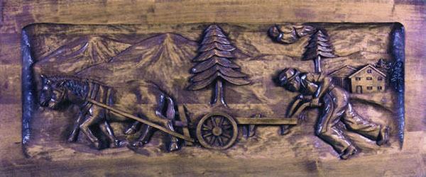 Lindenholz f. Relief Bauer beim Pflügen 80x26x5 cm