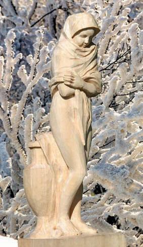 Lindenholz f. die Figur : Die Frierende 45x13x13 cm