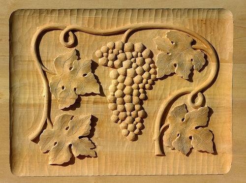 Lindenbrett f. Relief Weinranke 48x35x3 cm
