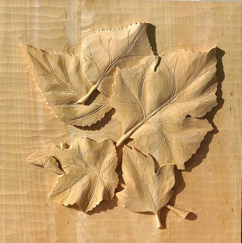 Lindenbrett f. Relief Herbstblätter 42x37x3 cm